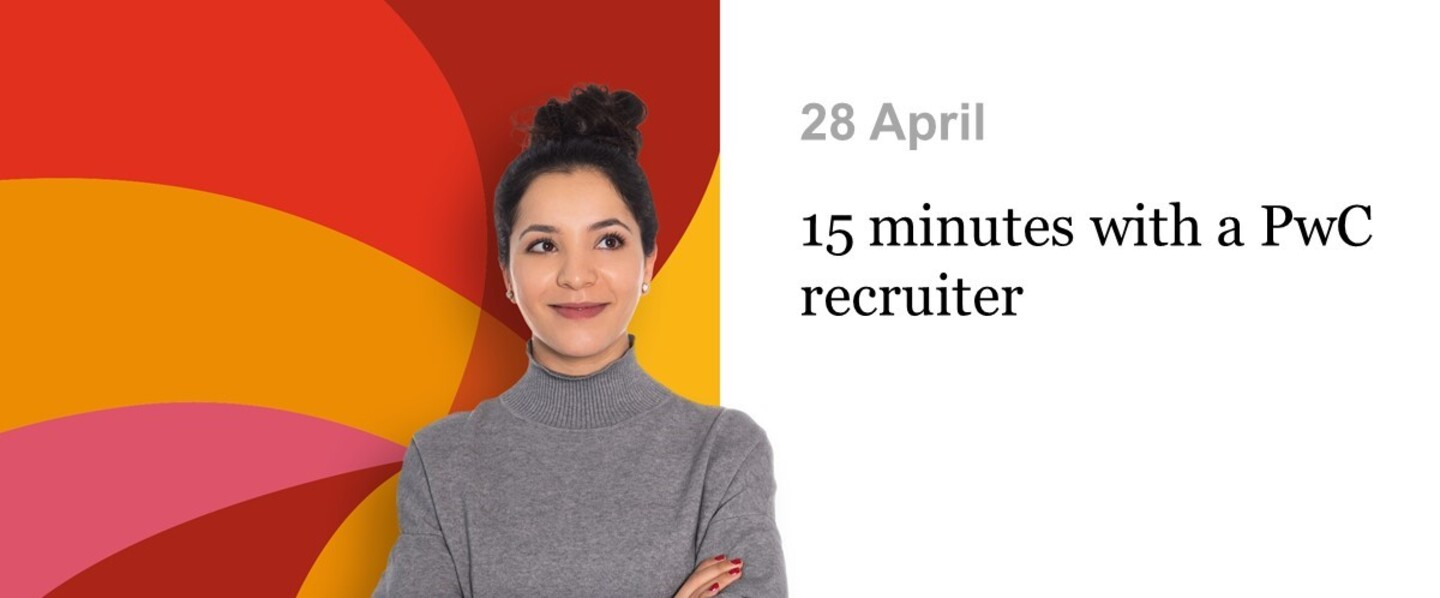 Event PwC 15 minutes with a PwC recruiter header